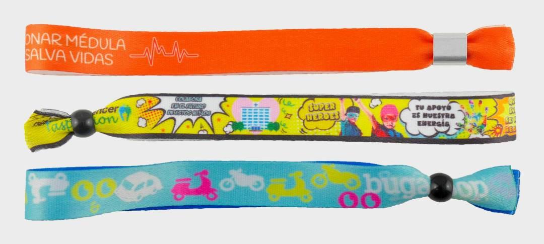 Pulseras de tela bordadas personalizadas