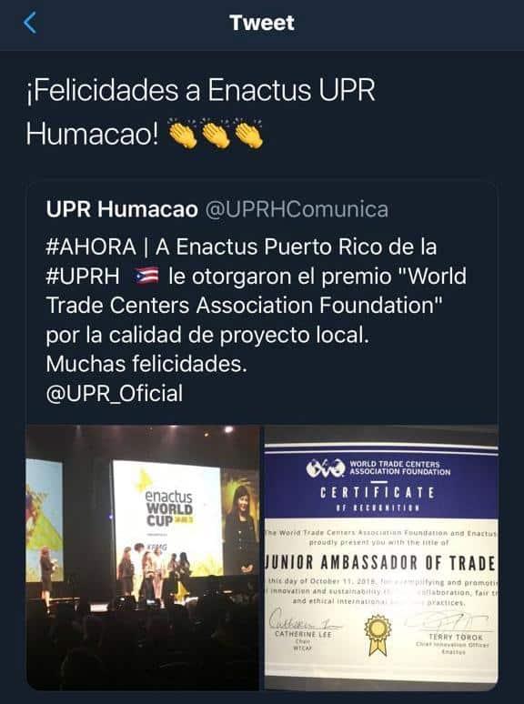 Enactus de la UPR en Humacao recibe distinción en competencia internacional
