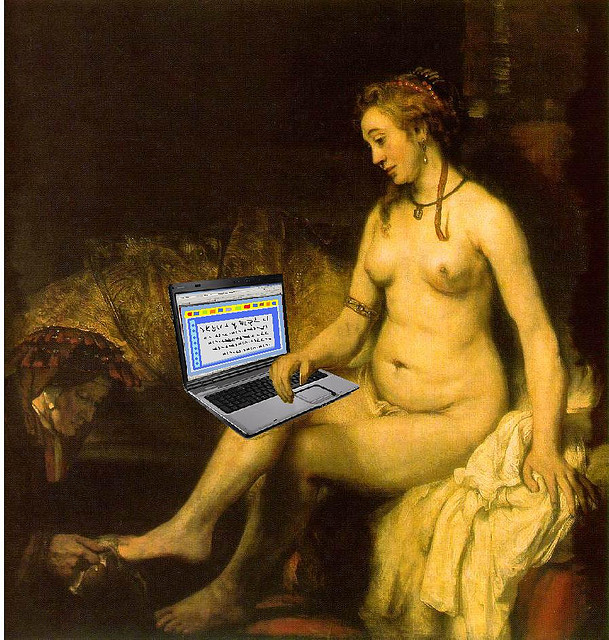 Bathsheba Reads King David's Email, after Rembrandt