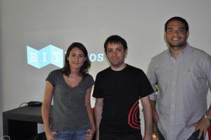 El equipo de Bitpagos: Gruszeczka, Serrano y Paradiso