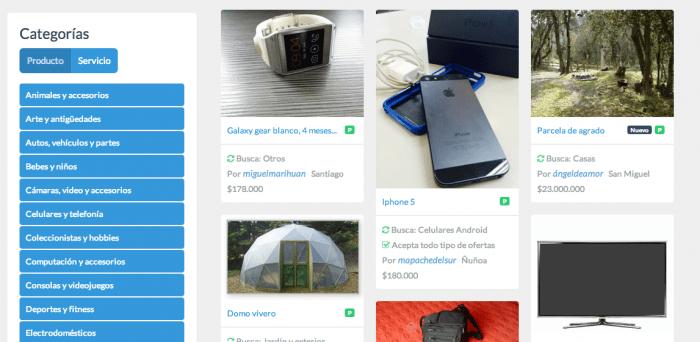 Algunas de las categorías y productos que puedes encontrar en Truequers.
