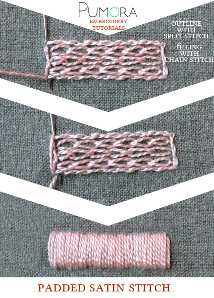 Padded Satin Stitch : padded, satin, stitch, Satin, Stitch, Pumora, About, Embroidery