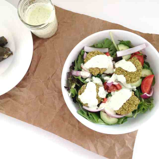 Baked Falafel Salad with Tzatziki Dressing // pumpkin & peanut butter