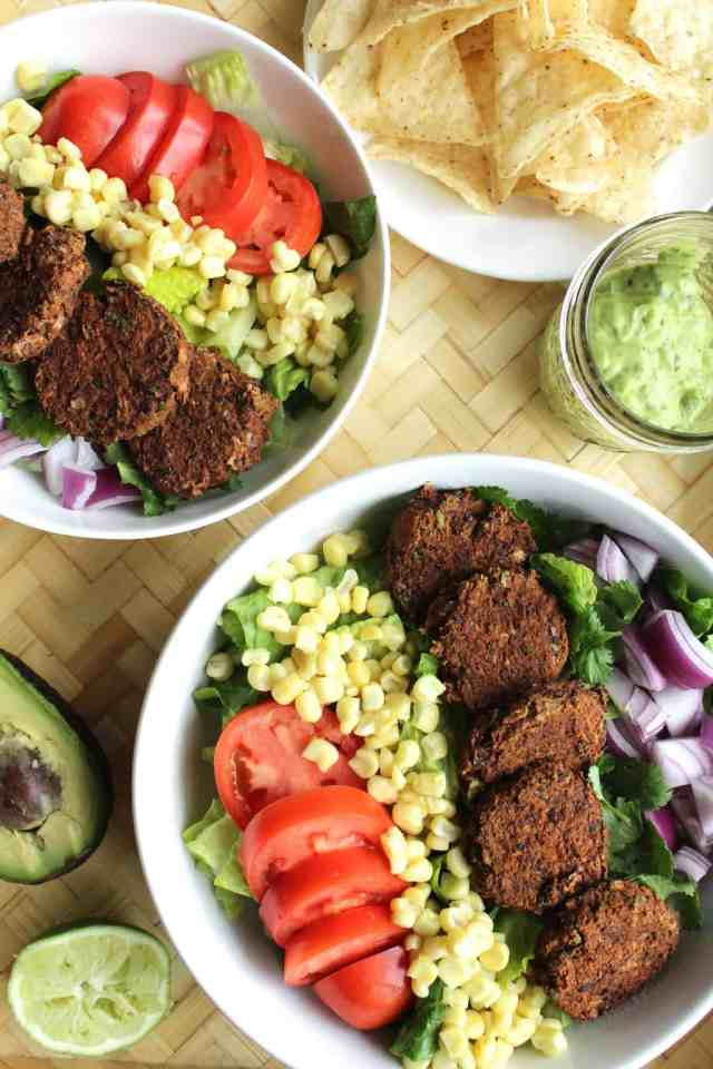 Southwestern Salad with Black Bean Falafel