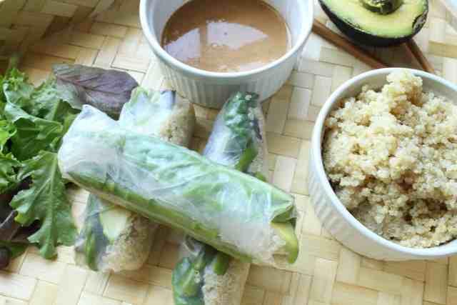 Green Goddess Quinoa Spring Rolls // pumpkin & peanut butter
