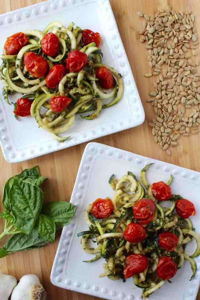 Pesto Zucchini Noodles with Burst Tomatoes // pumpkin and peanut butter