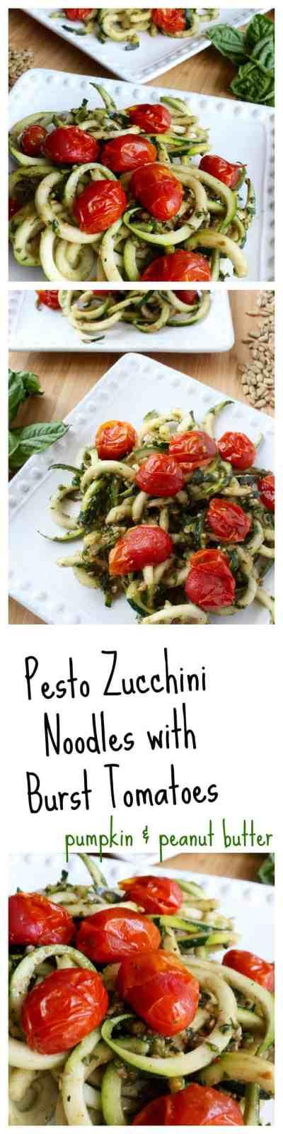 Pesto Zucchini Noodles with Burst Tomatoes // pumpkin & peanut butter