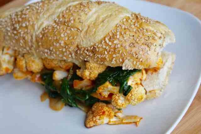 Spicy Buffalo Cauliflower Sandwiches // pumpkin & peanut butter