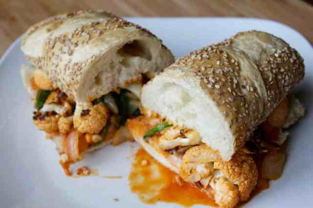 Spicy Buffalo Cauliflower Sandwiches // pumpkin & peanut butter