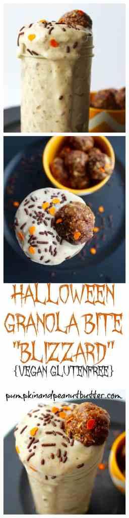Halloween Granola Bite Blizzards // pumpkin & peanut butter