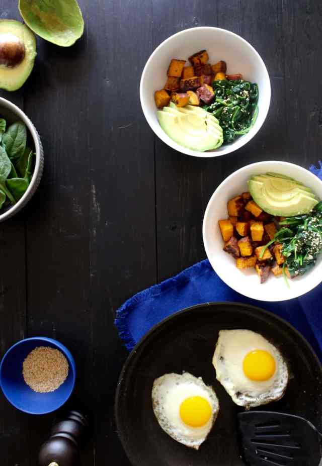 Breakfast Bowl with Sweet Potatoes, Avocado, & Toasted Sesame Spinach // pumpkin & peanut butter