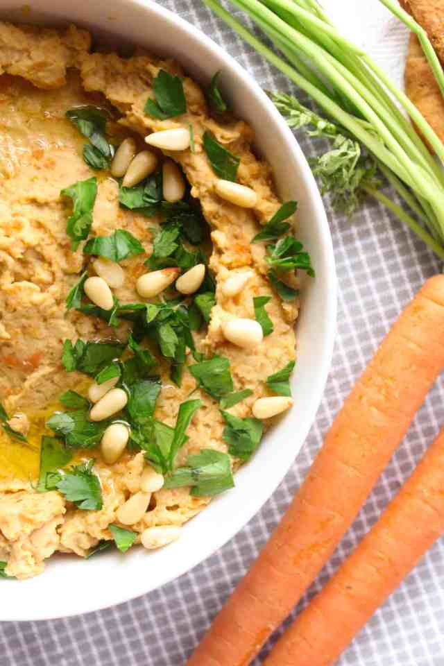 Roasted Balsamic Carrot Hummus // pumpkin & peanut butter