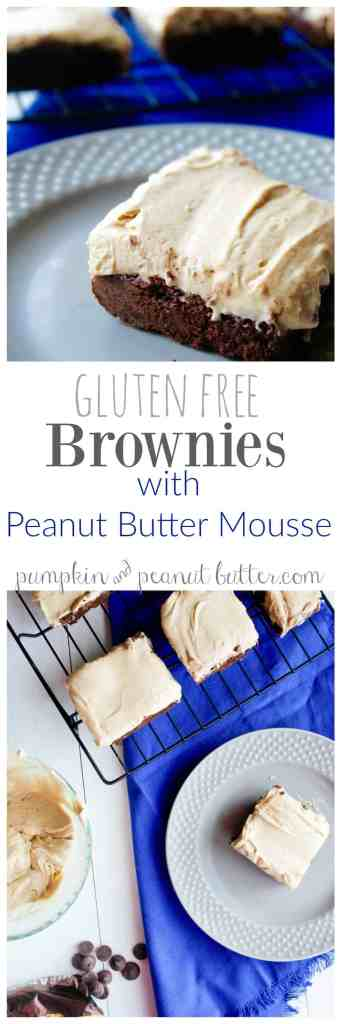 Gluten Free Brownies with Peanut Butter Mousse // pumpkin & peanut butter