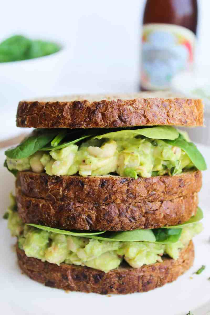 Smashed White Bean, Basil, & Avocado Sandwich