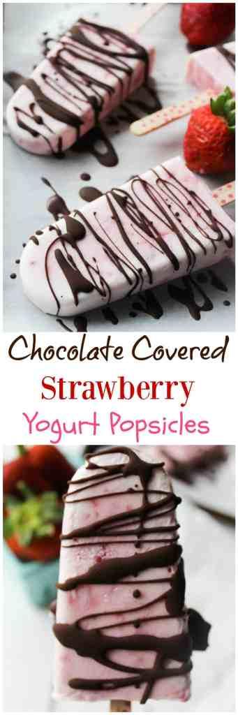 Chocolate Covered Strawberry Yogurt Popsicles // pumpkinandpeanutbutter.com