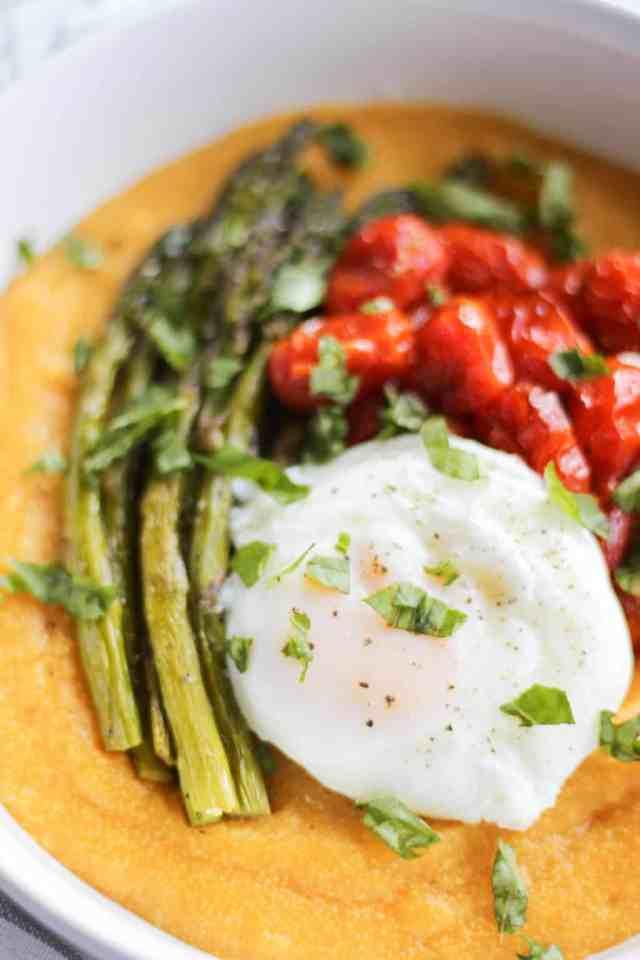 Roasted Tomato & Asparagus Polenta with Poached Egg ...