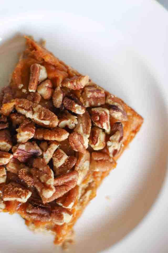 Gluten Free Sweet Potato Pecan Pie Bars // pumpkinandpeanutbutter.com