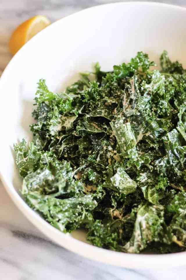 Vegan Kale Caesar with Farro & Sourdough Croutons // pumpkinandpeanutbutter.com