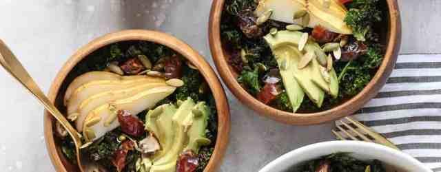 Crispy Kale Salad with Dates, Pear, + Avocado