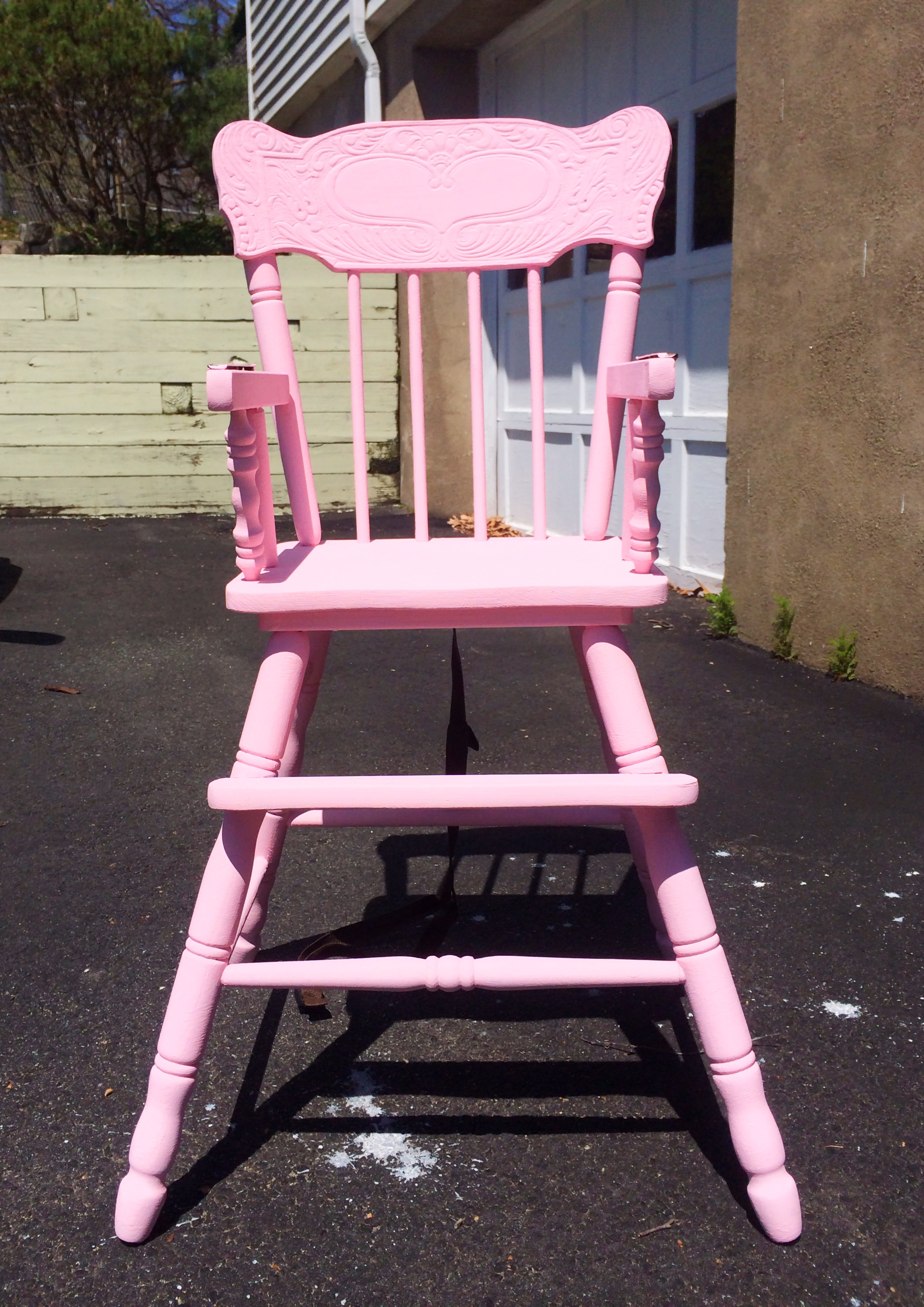 pink high chairs chair covers recliner pads headrest distressed wooden tutorial in  pumpkin