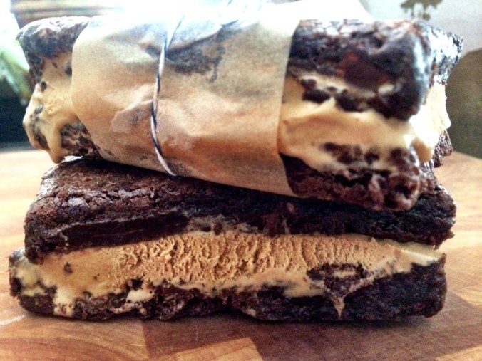 double choc brownie sea salt caramel ice cream sandwiches close up