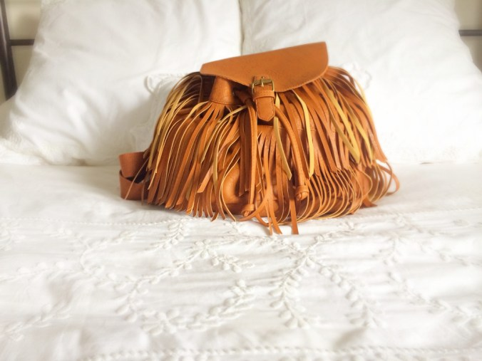 backpack on bed