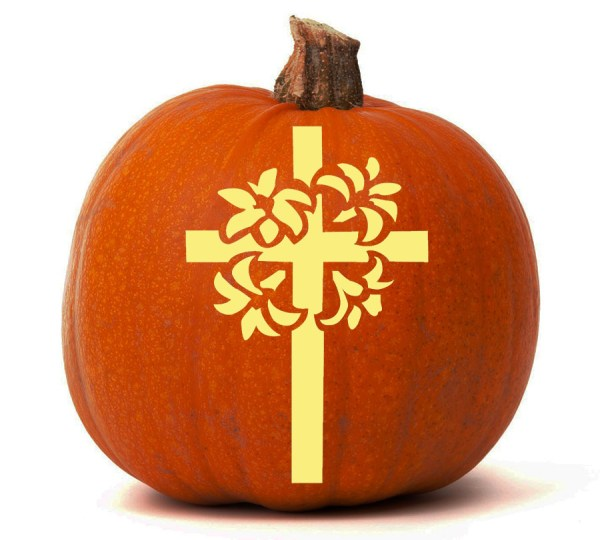 Christian Cross With Lilies - Pumpkin Glow