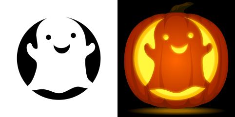 Free Cute Ghost Pumpkin Stencil