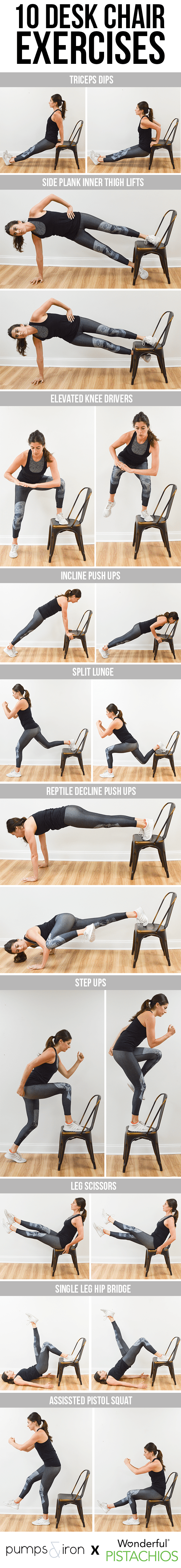 office chair exercises all weather reclining garden chairs 10 you can do with a desk pumps iron try picking five of the above and performing them in circuit 45 seconds work 15 rest complete two four times for