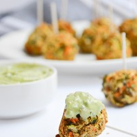Chickpea Veggie Fritter Bites with Avocado Dipping Sauce