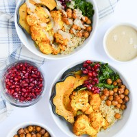 Roasted Maple Acorn Squash & Turmeric Cauliflower Buddha Bowls