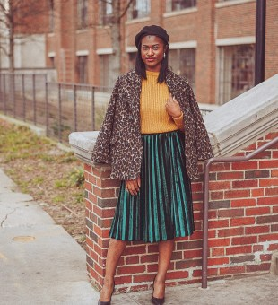 Leopard Print + Green Velvet Pleats