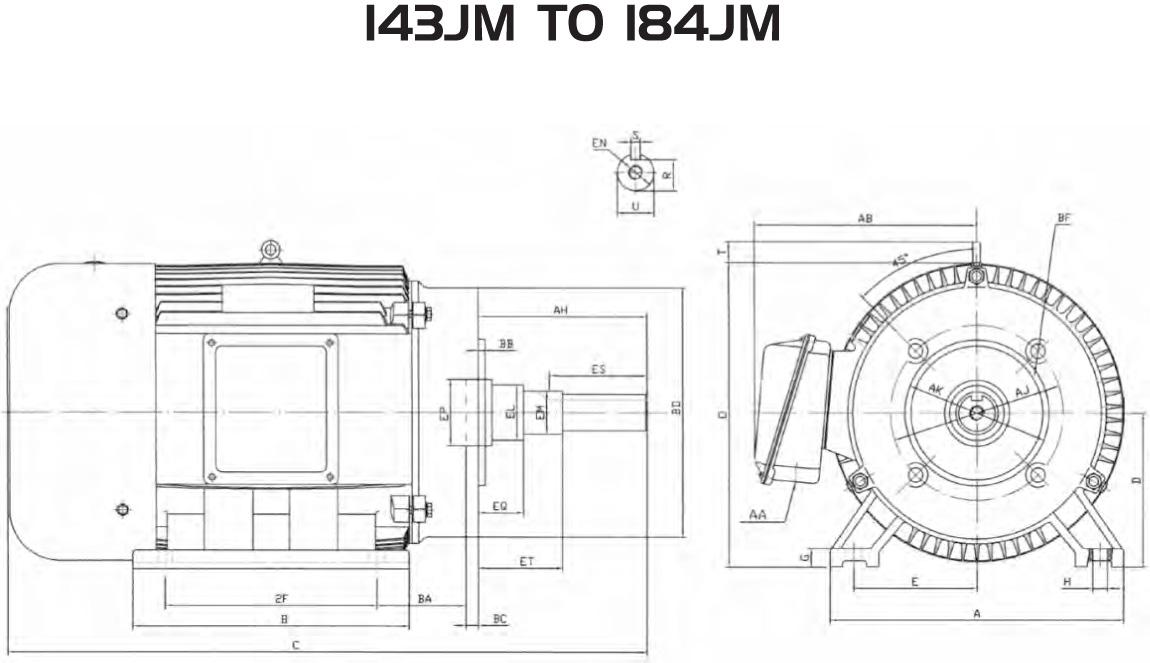 Motors :: JM Frame Close Coupled Pump Motors :: 30 HP