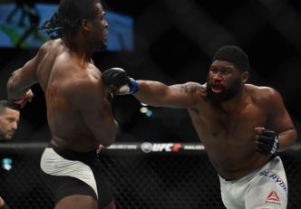 April 10, 2016; Zagreb, Croatia; Curtis Blaydes moves in with a punch as Francis Ngannou defends during UFC Fight Night at Zagreb Arena. Mandatory Credit: Per Haljestam-USA TODAY Sports