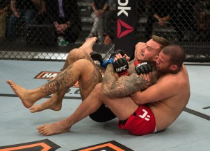 LAS VEGAS, NV - JANUARY 26: (R-L) Eric Spicely attempts to submit Kenneth Bergh during the elimination fights at the UFC TUF Gym on January 26, 2016 in Las Vegas, Nevada. (Photo by Brandon Magnus/Zuffa LLC/Zuffa LLC via Getty Images)