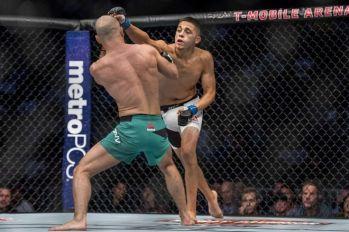 Aug 20, 2016; Las Vegas, NV, USA; Artem Lobov (red gloves) competes against Chris Avila (blue gloves) during UFC 202 at T-Mobile Arena. Mandatory Credit: Joshua Dahl-USA TODAY Sports