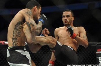 Jan 17, 2016; Boston, MA, USA; Rob Font (red) kicks Joey Gomez (blue) during a light heavyweight bout at UFC Fight Night at the TD Garden. Font won in two rounds by technical knock-out. Mandatory Credit: Bob DeChiara-USA TODAY Sports