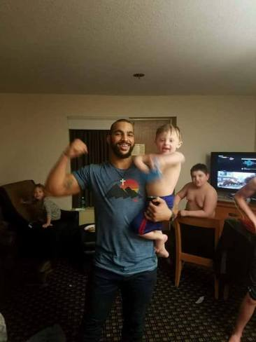 Devin with three year old Camden
