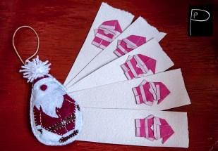 punctually_punch_xmas_santa_claus_felt_paper_origami_bookmark