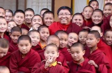 Rinpoche with pupils.