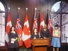 Addressing the loss of funding to the Culture Sector and particularly the cuts to the Ontario Arts Council Publishing Projects on behalf of Claire Farley, Editor of Canthius. With Dr. Jill Andrew, MPP Toronto-St. Paul's Ontario NDP Culture Critic and Women's Issues Critic at a press conference on October 1 at the Media Room, Legislative Assembly of Ontario, Queen's Park.