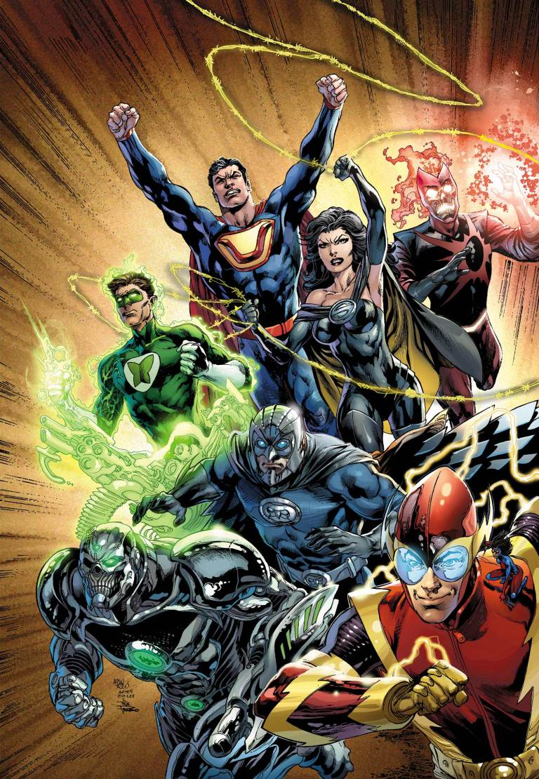 From top left to bottom right, Power Ring, Ultraman, Superwoman, Deathstorm, Grid, Owlman, and Johnny Quick.