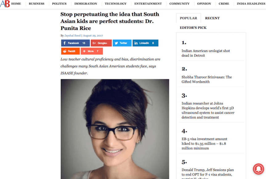 American Bazaar interviewed Dr. Punita Rice about research on South Asian American student experiences, and ISAASE. (Dr. Punita Rice interview with American Bazaar.)