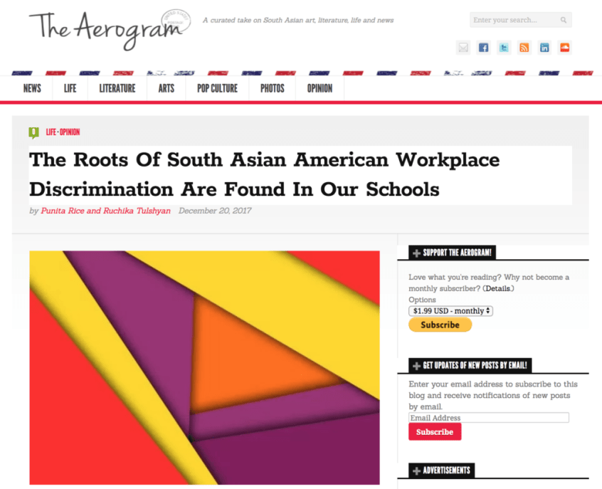 Discrimination against South Asian Americans in the workplace and the classroom