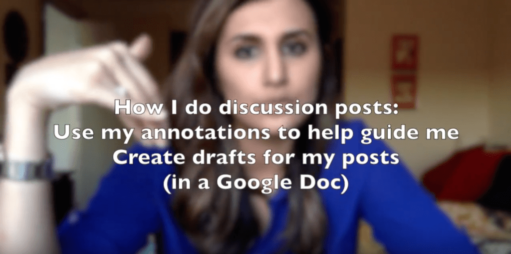 Using my annotations as a guide, I drafted my discussion posts in a Google Doc
