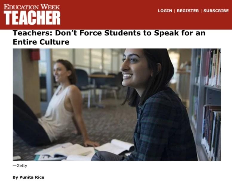 Education Week Teacher Punita Rice Spokesperson