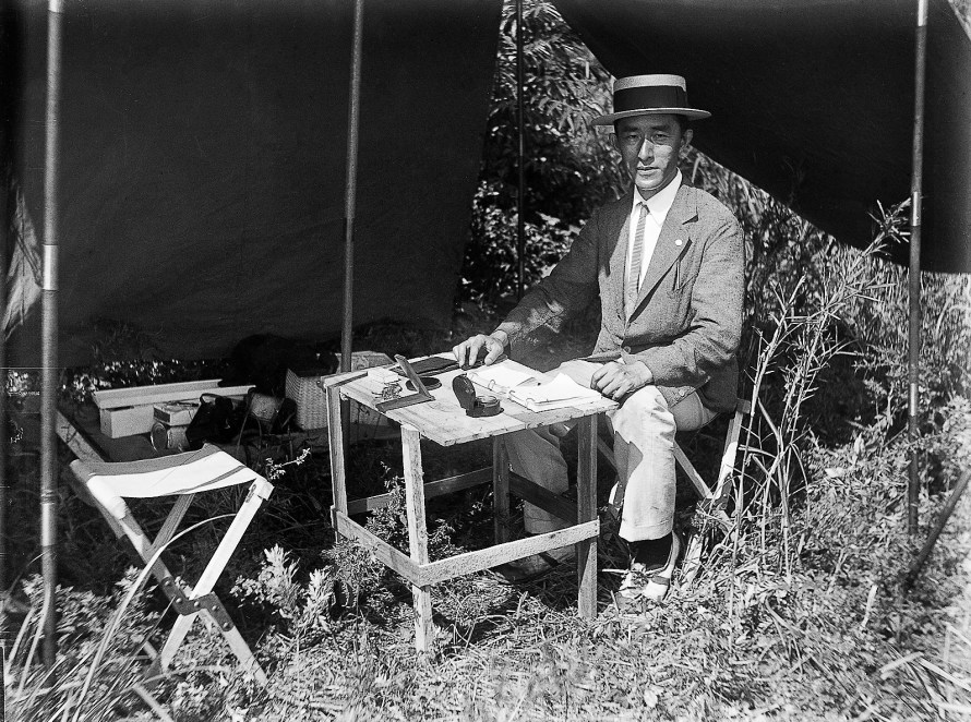 Unknown photographer: Masanao Abe in front of a tent, before the observatory was built, c. 1927