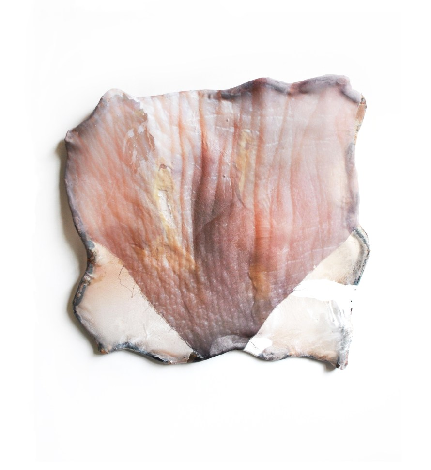 Mónika Üveges: Membrane, 2019, 70x70x10 cm, photographic print, muslin, pigment, polyester resin, shaped stretcher