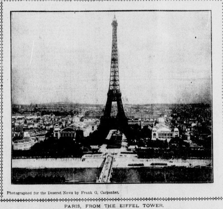 Frank G. Carpenter képe 1902-ben készült az Eiffel-toronyról.