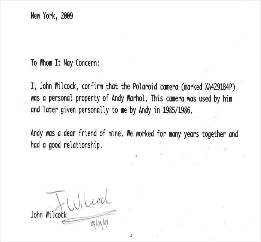 John Wilcock 2009 márciusában kelt tanúsítványa, amely a Warhol-fényképezőgép hitelességét igazolja. A Heritage Auctions jóvoltából. ha.com